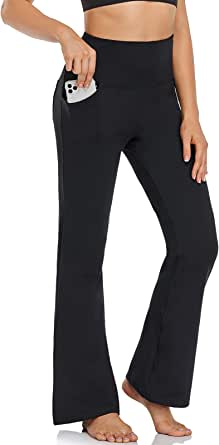 FIRST WAY Buttery Soft Women's Bootcut Yoga Pants with 3 Pockets, Peach Skin Finish 30% Spandex Workout Bootleg Flared Pants