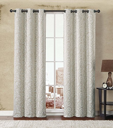 2-Pack: Stanton Hotel Quality Energy Saving Heavy-Duty Thermal Woven Grommet Curtain Panels By GoodGram® – Assorted Colors (Beige/Natural)