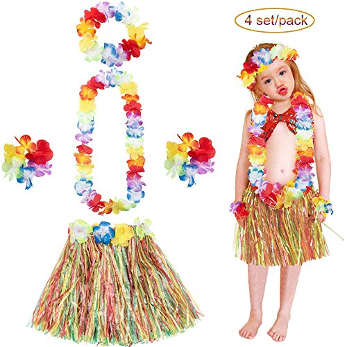 4 Sets Kids Child Girls Elastic Hawaiian Hibiscus Grass Hula Skirts Value Set Costume Luau Party Favors Hula Dancer Skirt Flower Leis 30cm