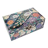 Silver J Wooden Lacquered Jewelry Box, Mother of Pearl Jewellery Box, Handmade Oriental Gift, Luxurious Peacock.
