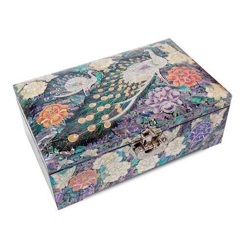 Silver J Wooden Lacquered Jewelry Box, Mother of Pearl Jewellery Box, Handmade Oriental Gift, Luxurious Peacock. by Silver J (Image #6)