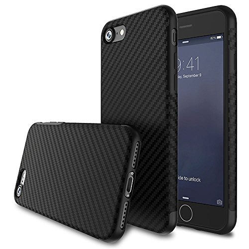 Phone SE Case,L-FADNUT [Carbon Fiber Lines] TPU Silicone Ultra Slim Back Case,Shock Absorbing Bumper Protective Case Cover for Apple iPhone 5/5S/SE Black ()