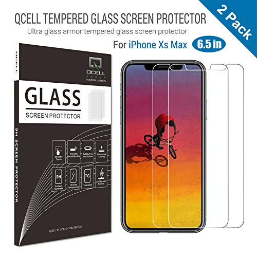 iPhone Xs Max Tempered Glass Screen Protector, Qcell 2018 New iPhone Xs Max 6.5inch 9H Hardness Screen Protector for OLED Display, Face ID, 3D-Touch (2-Pack)