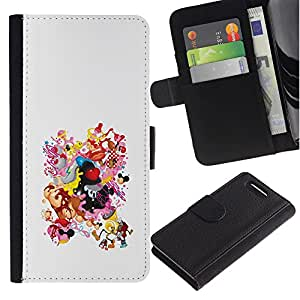 KingStore / Leather Etui en cuir / Sony Xperia Z1 Compact D5503 / Dibujo Smiley Tetas Culo Mujer Cuerpo