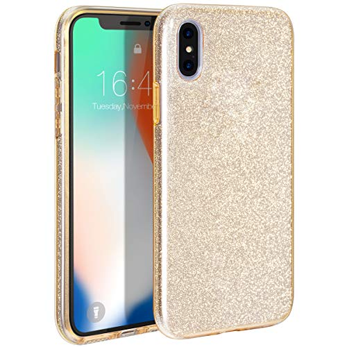 MILPROX iPhone Xs MAX Casse Glitter Luxury Shiny Sparkly Silm Bling Crystal Clear, 3 Layer Hybrid, Protective Soft Case iPhone Xs MAX(2018)- (Gold)