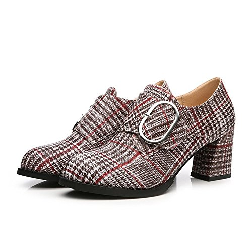 avec épais confortable Bouche seule Chaussures la Grid profondes ressort et ronde femelle Chaussures de Finesse Tête Unique Deep élégante 37 Kaki à bouche UTw6qqC