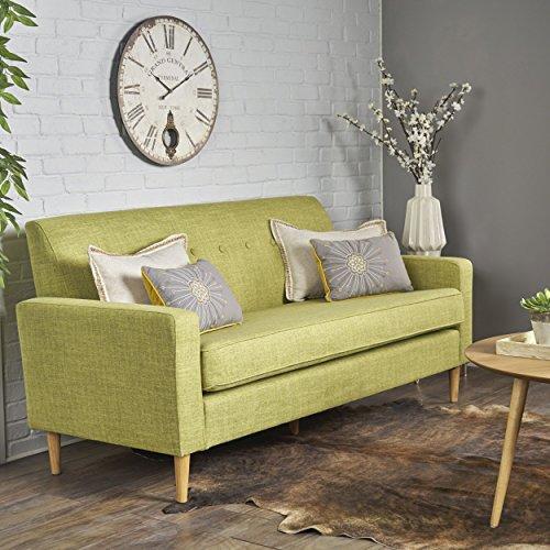 Stratford Mid Century Modern Muted Green Fabric 3 Seater Sofa
