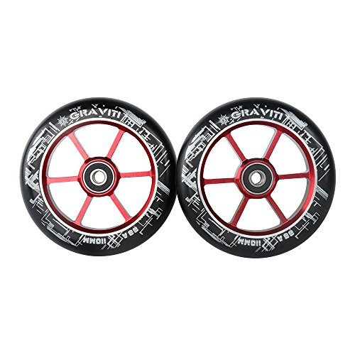 (GRAVITI One Pair 110mm Pro Stunt Scooter Wheels ABEC-9 Bearings CNC Metal Core (2pcs) (red))