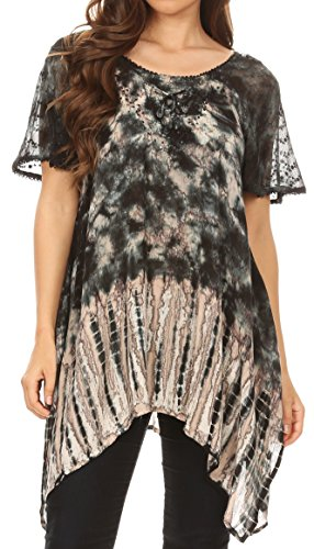 Sequin Tie Dye - Sakkas 18721 - Elba Womens Short Sleeves Handkerchief Hem Blouse Top Tie-dye with Sequin - Black - OSP