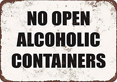 No Open Alcoholic Containers Tin Sign House Decor Food Drink Bar 20 cm x 30 cm