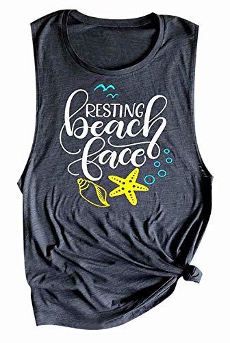 - LOTUCY Women Resting Beach Face Tank Top Sleeveless Racerback Vest Top Letter Print Summer Vacation Cami Gray