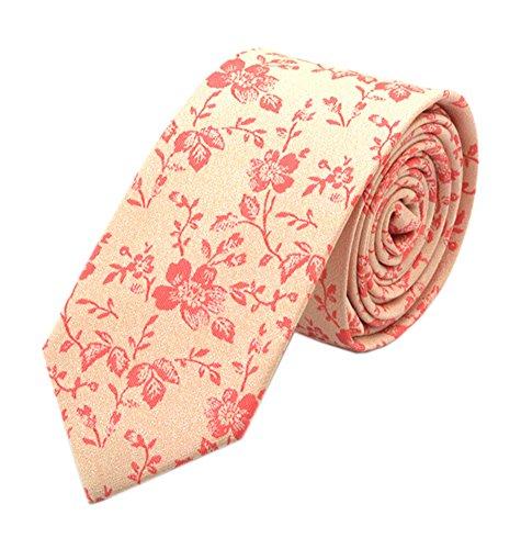 Men's Yellow Red Jacquard Woven Silk Narrow Ties Bridegroom Funny Neckties Gifts (Belt Silk Linen)