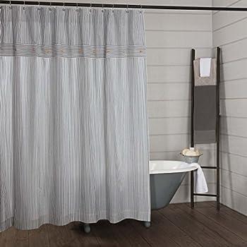 Piper Classics Farmhouse Ticking Stripe Shower Curtain 72x72 Blue