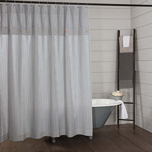 Piper Classics Farmhouse Ticking Stripe Shower Curtain, 72x72, Blue (Curtains Black Ticking)