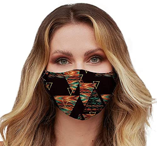 Washable Face Mask with Adjustable Ear Loops & Nose Wire - 3 Layers, Made in USA (African Pattern)