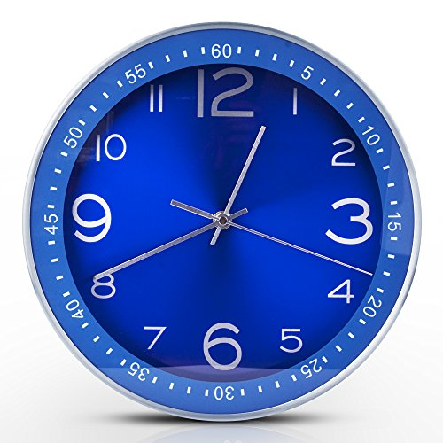 Egundo Blue Wall Clocks Indoor Outdoor 12 Inches Large Metal Silent Clock Sweep Second Hand Battery Operation Elegant Home Decoration for Bedroom Kitchen Office
