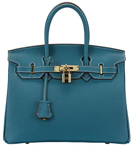 Cherish Kiss Womens Classic Genuine Leather Tote Padlock Handbags  35Cm  Peacock Blue With Stitched White