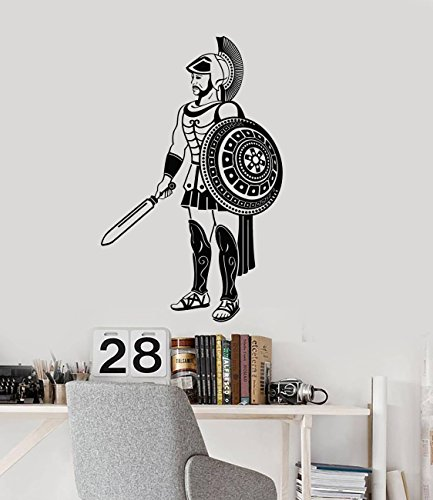 Greek Warrior Vinyl Wall Decal Ancient World Boy Son Room Decor Art Stickers Mural and Stick Wall Decals
