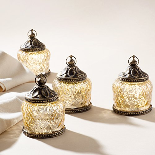 "Mini Gold Mercury Glass Lanterns - Set of 4, Warm White LEDs, 4"" Height, Antique Bronze Accents, Battery Operated - Hanging Votive Lanterns"