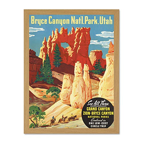 Wee Blue Coo Travel Grand Canyon North Rim Bryce Zion National Park Utah Large Framed Art Print Poster Wall Decor 18x24 inch