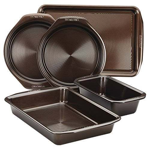 Circulon 46015 Nonstick Bakeware Set with Nonstick Cookie Sheet, Bread Pan, Bakings Pan and Cake Pans - 5 Piece, Chocolate Brown (5 Piece Roaster Set)