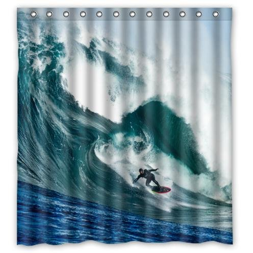 Distinctive Storm Surfers Surfing Pattern Print Home Decor Waterproof Bathroom Polyester Fabric Shower Curtain,66