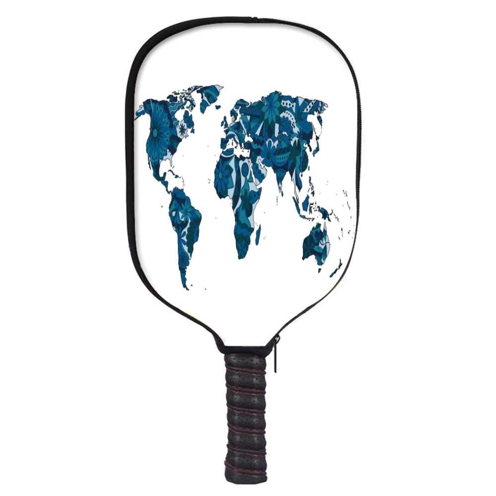 MOOCOM Floral World Map Fashion Racket Cover,Flourish in Blue Tones Earth Continents with Ornate Eco Plants Decorative for Playground,8.3'' W x 11.6'' H