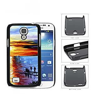 Men Fishing On Water Front Dock Overlooking The Sunset Oil Painting [Samsung i9190 Galaxy S4] (MINI) Hard Snap on Plastic Cell Phone Cover