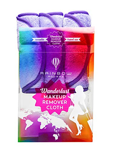 RAINBOW ROVERS Set of 3 Makeup Remover Wipes   Reusable & Ultra-fine Makeup Towels   Suitable for All Skin Types   Removes Makeup with Water   Free Bonus Waterproof Travel Bag   Wild Lavender