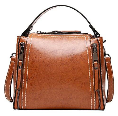 SAIERLONG Ladies Designer Leather Handbags Shoulder Bags Red Wine Brown