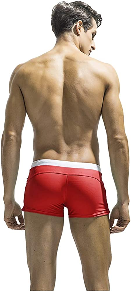 ATHWILL Mens Swim Trunks Square Leg Swimming Boxer Briefs Beach Shorts Swimsuits with Pocket for Men