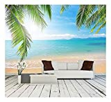 wall26 - Palm and Tropical Beach - Removable Wall Mural | Self-Adhesive Large Wallpaper - 66x96 inches