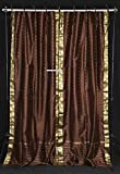Lined-Brown Tie Top Sheer Sari Cafe Curtain / Drape – 43W x 24L – Pair For Sale