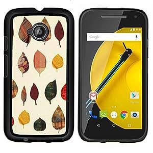 LECELL--Funda protectora / Cubierta / Piel For Motorola Moto E2 E2nd Gen -- Patrón de otoño Arte Naturaleza Amarillo --
