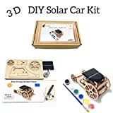 3D DIY Wooden Solar Car Robotics Engineering Maker Kit - STEM Circuit Building Kits Creative Project with Motor Color Brush - Model Toy Educational Activity - Science Experiment For Kids, Teens