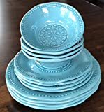 Sigrid Olsen Home Dishwasher Safe Indoor/Outdoor 100% Melamine 12 Piece Set: 4 Dinner Plates, 4 Salad Plates, 4 Cereal/Soup Bowls HOBNAIL/MEDALLION TWO-TONE AQUA