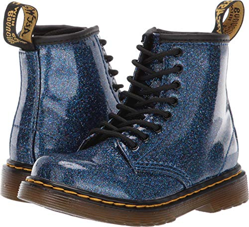 Dr. Martens Kid's Collection Baby Girl's 1460 Patent Glitter Toddler Brooklee Boot (Toddler) Blue Coated Glitter 7 M UK]()