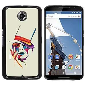 Planetar® ( Colorful Art Portrait ) Motorola NEXUS 6 / Moto X / Moto X Pro Fundas Cover Cubre Hard Case Cover