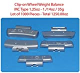 (1000 Pieces) ZN CLIP-ON WHEEL WEIGHT BALANCE 1.25 1.1/4oz MC Type Total 1250.00oz (Use for All Types of Alloy wheels On Passenger Cars , Trucks , Vans & Motorcycles)
