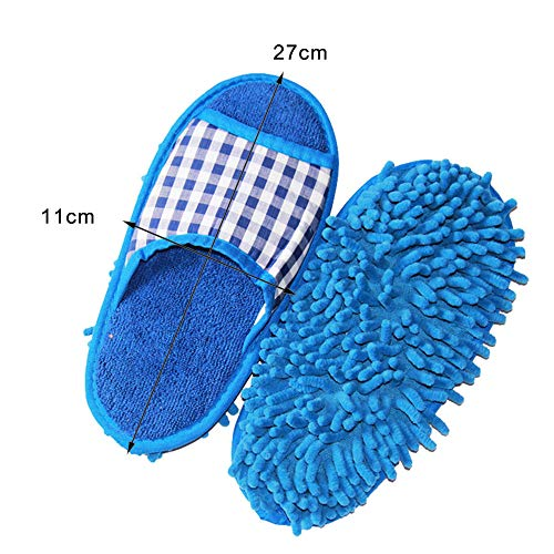 Yu2d  Mop Slippers Lazy Floor Foot Socks Shoes Quick Polishing Cleaning Dust(Blue) ()