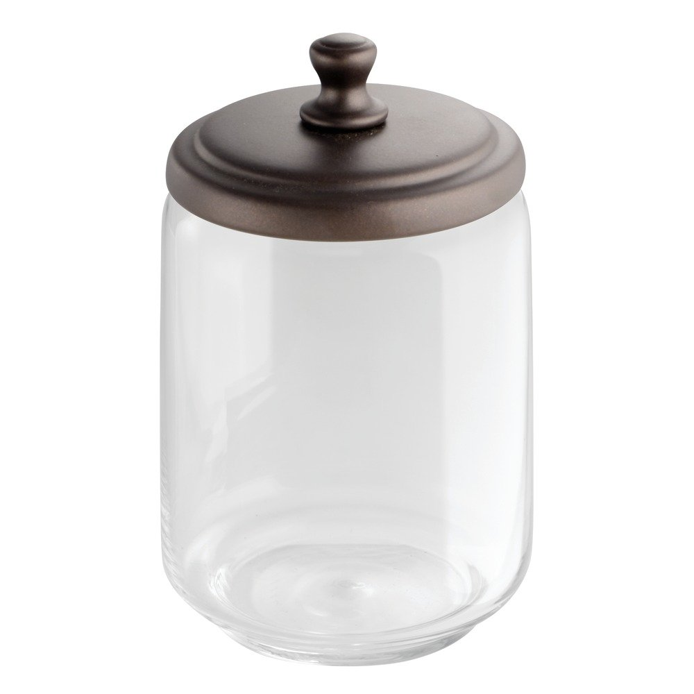 InterDesign York Bathroom Vanity Glass Apothecary Jar for Cotton Balls, Swabs, Cosmetic Pads - Clear/Bronze