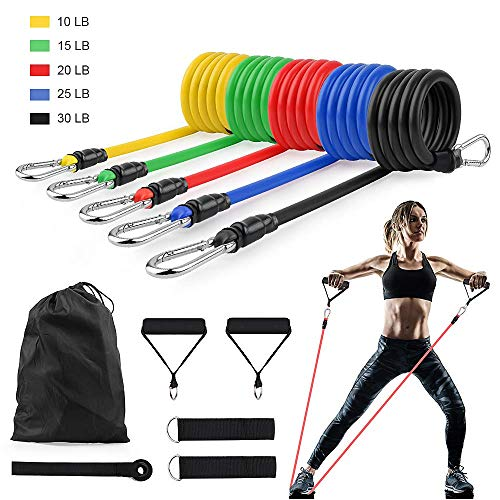 SourceDIY Resistance Exercise Bands Set Men Elastic Fitness Accessory Workout Home Gym Exercise Equipment With Handle…