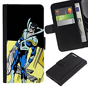 JackGot ( Superhero Máscara Comics Arte del carácter del hombre ) Apple (5.5 inches!!!) iPhone 6+ Plus / 6S+ Plus la tarjeta de Crédito Slots PU Funda de cuero Monedero caso cubierta de piel