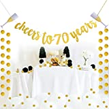 Glittery Gold Cheers To 70 Years Banner For 70th Birthday Wedding Anniversary Party Decoration