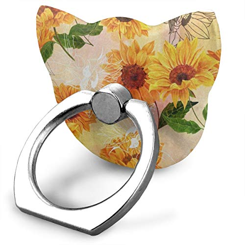 Ring Holder Yellow Watercolor Sunny Sunflower Cat Type Ring Mobile Phone Holder Phone Finger Holder for IPad Phone X/6/6s/7/8/8 Plus/7