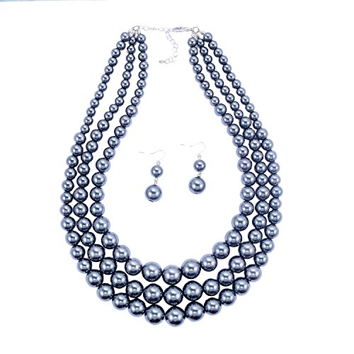Grey Faux Pearl Necklace - 6