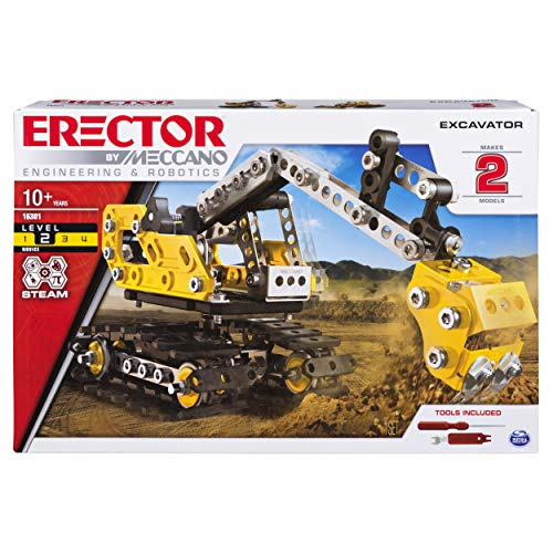 Erector by Meccano 2-in-1 Excavator and Bulldozer Model Set, STEM Education Toy for Ages 10 & - Bulldozer Model