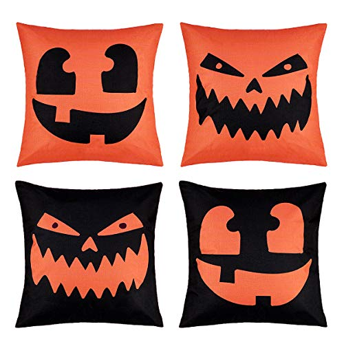 Throw A Halloween Party (peony man Happy Halloween Pillow Covers Cotton Linen Pumpkin Pillow Case with Halloween Pumpkin Smiley Face Printed for Home Party Decoration Supplies, 18 x 18)