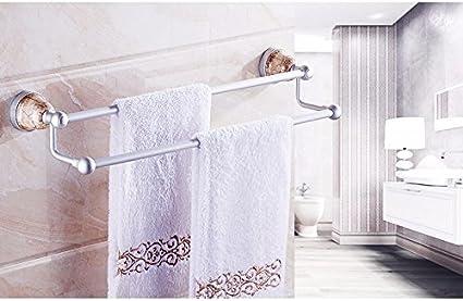 Quiet Lee Toallero de Pared multifunción, toallero, Barra de Toallas, Percha de 60 cm, para baño, sin perforación, para baño, Cocina, baño, Ducha, Doble Polo, Barra de Toalla para Colgar en la