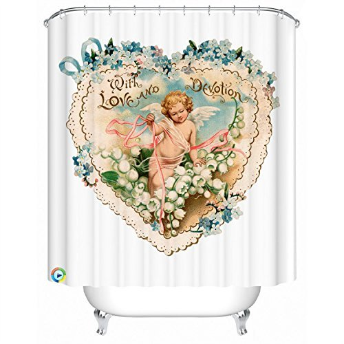 Simple Angel Desgin Waterproof Mouldproof Bathroom Fabric Love and Devotion Shower Curtain with Copper Buttonhole - 72